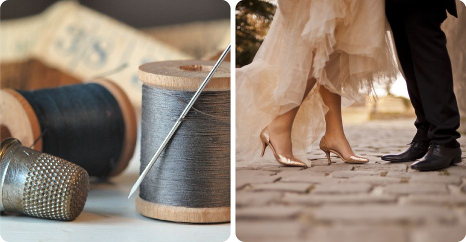 Needle and threads - Feet of a just married couple
