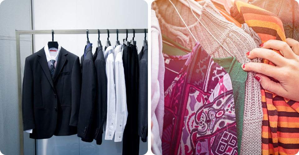 Black suits hanging - Woman searching through clothes | Give Your Cloths a Feeling of Freshness!